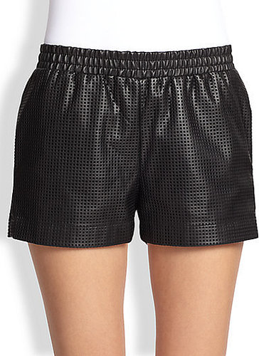 BCBGMAXAZRIA Perforated Faux Leather Shorts