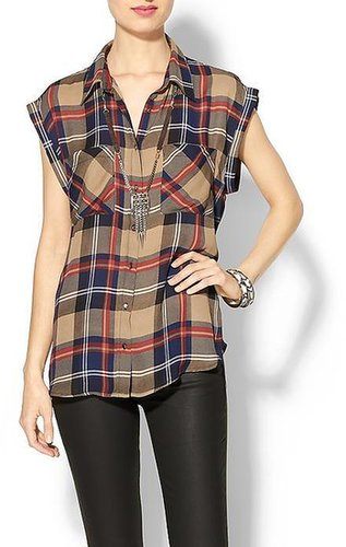 Skies Are Blue Short Sleeve Plaid Button Down