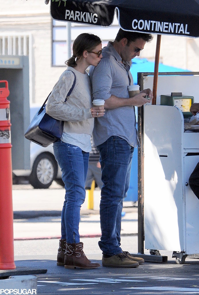 Ben Affleck and Jennifer Garner stuck close while leaving lunch in LA.