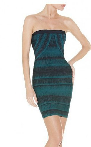 HERVE LEGER LEALY STRAPLESS BANDAGE DRESS GREEN