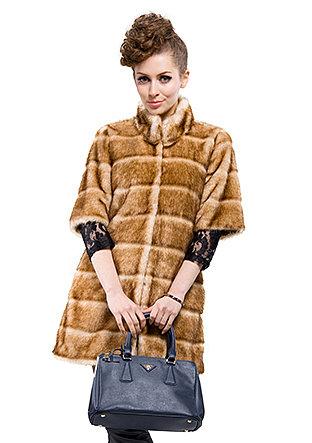Fashion light coffee faux mink fur collar woman long coat free shipping