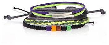 Boys green cube bead bracelet set