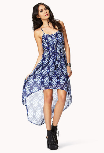 FOREVER 21 Ikat Print High-Low Dress