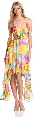 Tbags Los Angeles Women's Ruffle Printed Hi Low Dress