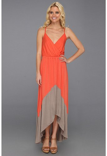 Michael Stars - Alba Colorblock High Low Maxi Dress (Flame/Taupe) - Apparel