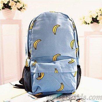 Sweet Cute Banana & Leeks & Hands Print Canvas Backpack