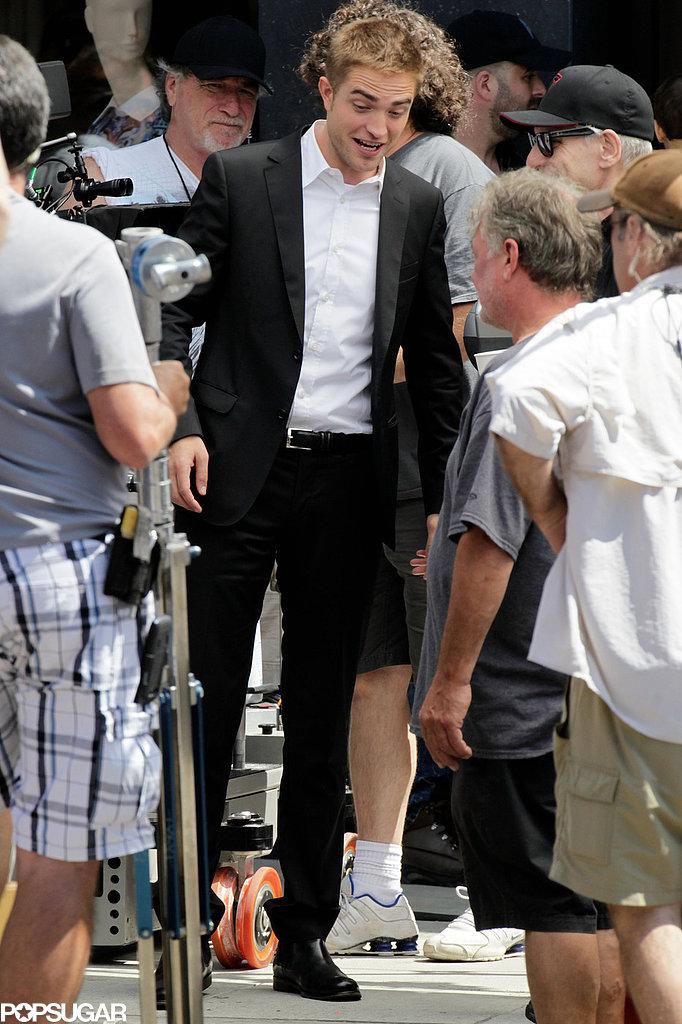 Robert Pattinson was all smiles on his LA set.