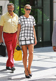 The matchy-matchy effect looks good on Heidi Klum, who coordinated her windowpane-print Tibi top and bottom.