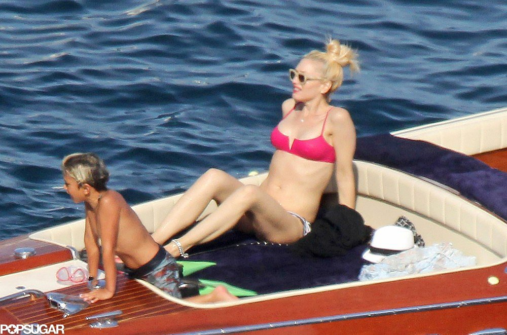 Gwen Stefani showed off her bikini body on a boat with her son Kingston while vacationing in the South of France in August.