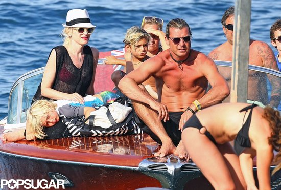 Gwen Stefani and Gavin Rossdale took their boys, Kingston and Zuma, on a boat ride while vacationing in the South of France in August.