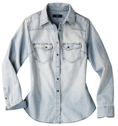 Mossimo® Women's Long Sleeve Denim Shirt - Light Denim