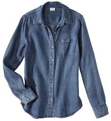 Merona® Women's Chambray Button Down Shirt -Dark Wash