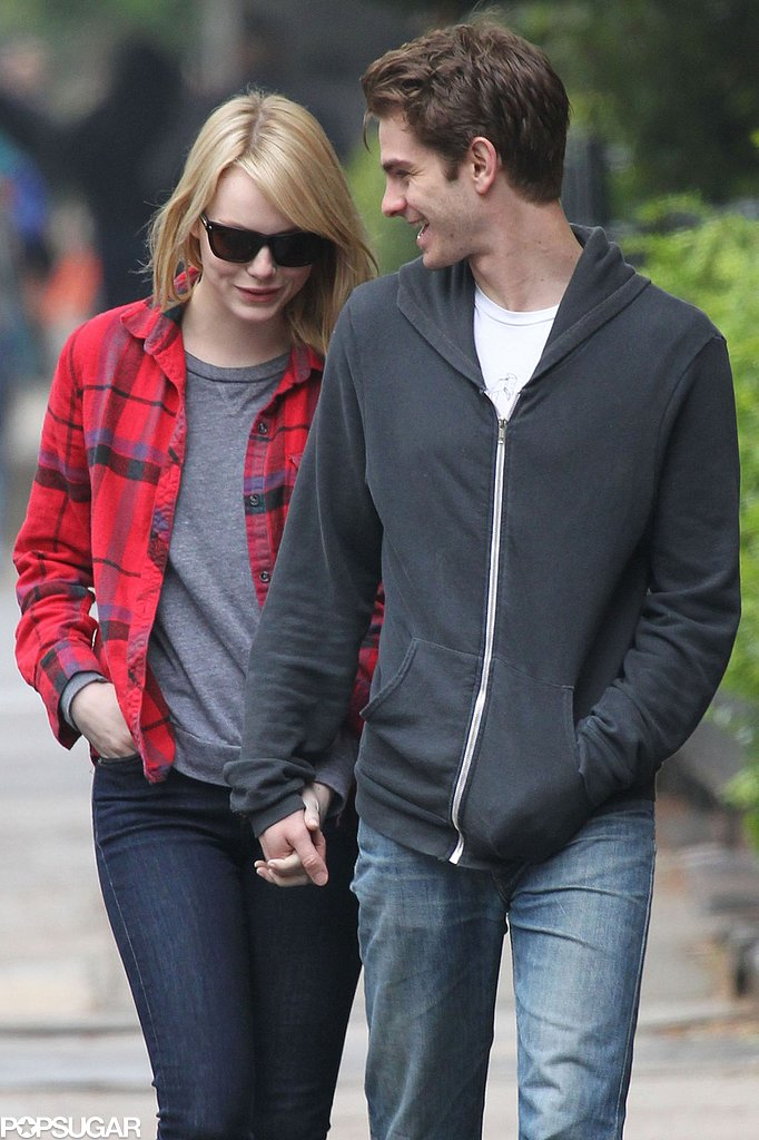 Emma Stone held Andrew Garfield's hand during an NYC coffee stop in May 2012.