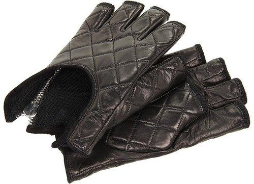 Rachel Zoe - Fingerless Quilted Glove with Zipper (Black) - Accessories