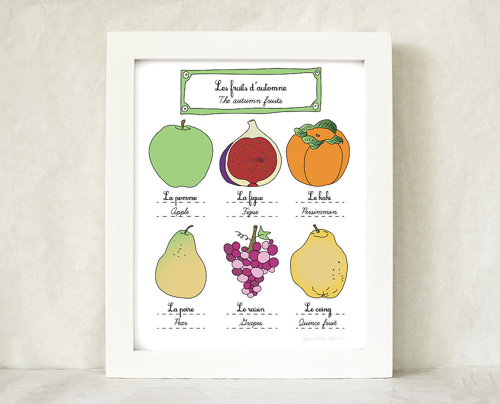 Pears apples, figs — we can't wait to get our hands on the season's fruits, as illustrated by this colorful art poster ($25).
