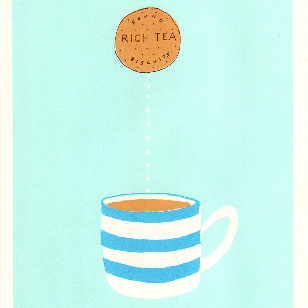 Dipping a cookie into a hot cup of tea — copying this art print ($23) is exactly how you'll find us when the temps cool down.
