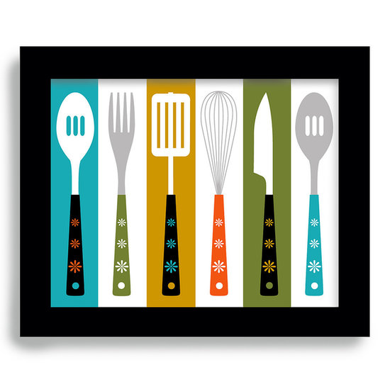 How great are the bold Fall colors of this überfun cooking utensil print ($18)?