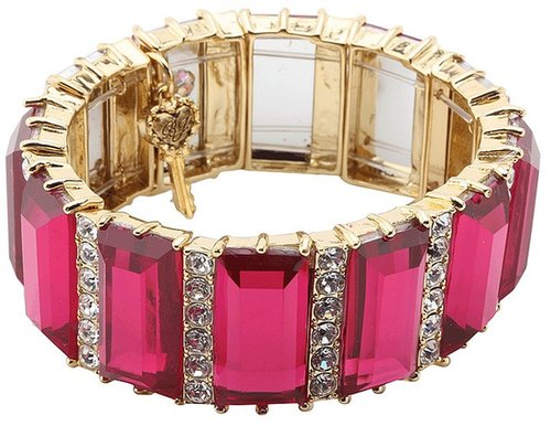 Betsey Johnson - Iconic Baguette Crystal Stretch Bracelet (Fuchsia) - Jewelry