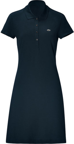 Lacoste Navy Cotton Stretch Short Sleeve Polo Dress