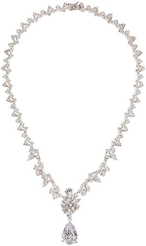 CZ by Kenneth Jay Lane Multi-Station Pear-Drop Cubic Zirconia Necklace