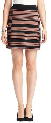 Striped Compact Knit Elastic Waist Skirt
