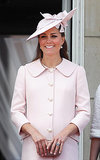 In her final public appearance before maternity leave, Kate's blow drywas tucked securely under a pink hat.