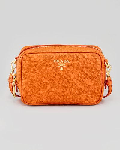 Prada Saffiano Small Zip Crossbody Bag, Orange