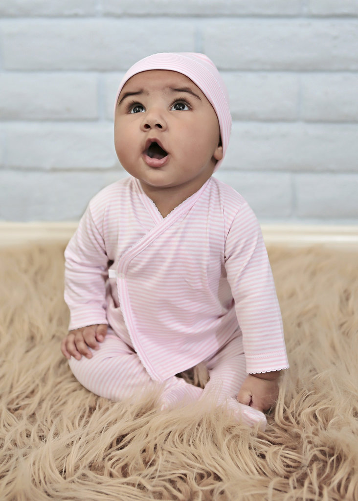 Kissy Kissy Pink Stripe Wrap-Front Shirt and Pants Set ($36)
