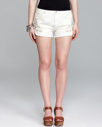 Free People Shorts - Rugged Ripped Denim Tulum Embroidered