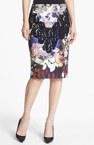 Rachel Roy Lace Trim Floral Print Pencil Skirt Black Multi 14