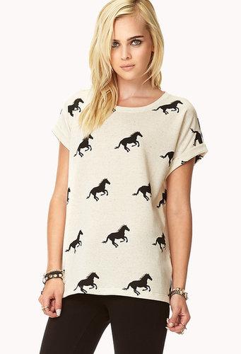 FOREVER 21 Linen-Blend Horse Print Top