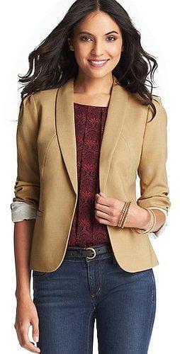 Lightweight Wool Blend Open Jacket