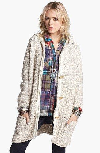 Free People Knit Toggle Coat Oatmeal Large