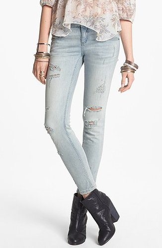 Free People Destroyed Stretch Skinny Jeans (Light Wash) Womens Light Wash Size 27 27