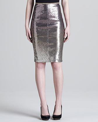 Donna Karan Metallic Pencil Skirt