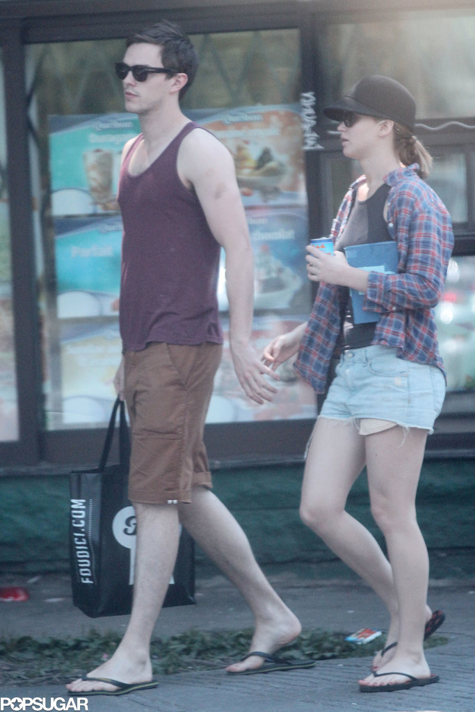 Jennifer Lawrence and Nicholas Hoult walked hand in hand in Montreal.