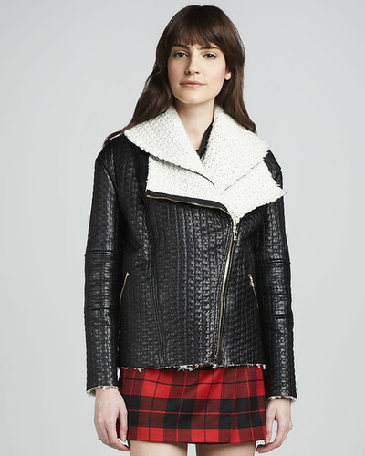 Alice + Olivia Carrie Textured-Leather Double-Collar Jacket