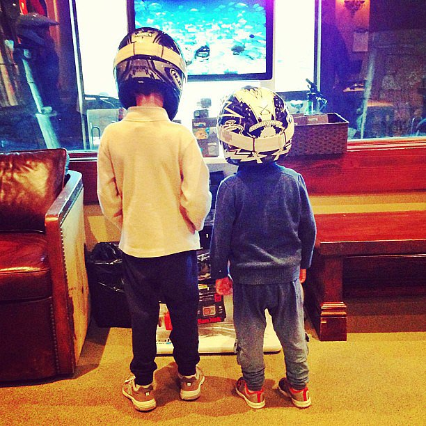 Jack Moynahan and Ben Brady channeled Daft Punk while playing at home one morning.  Source: Instagram user giseleofficial