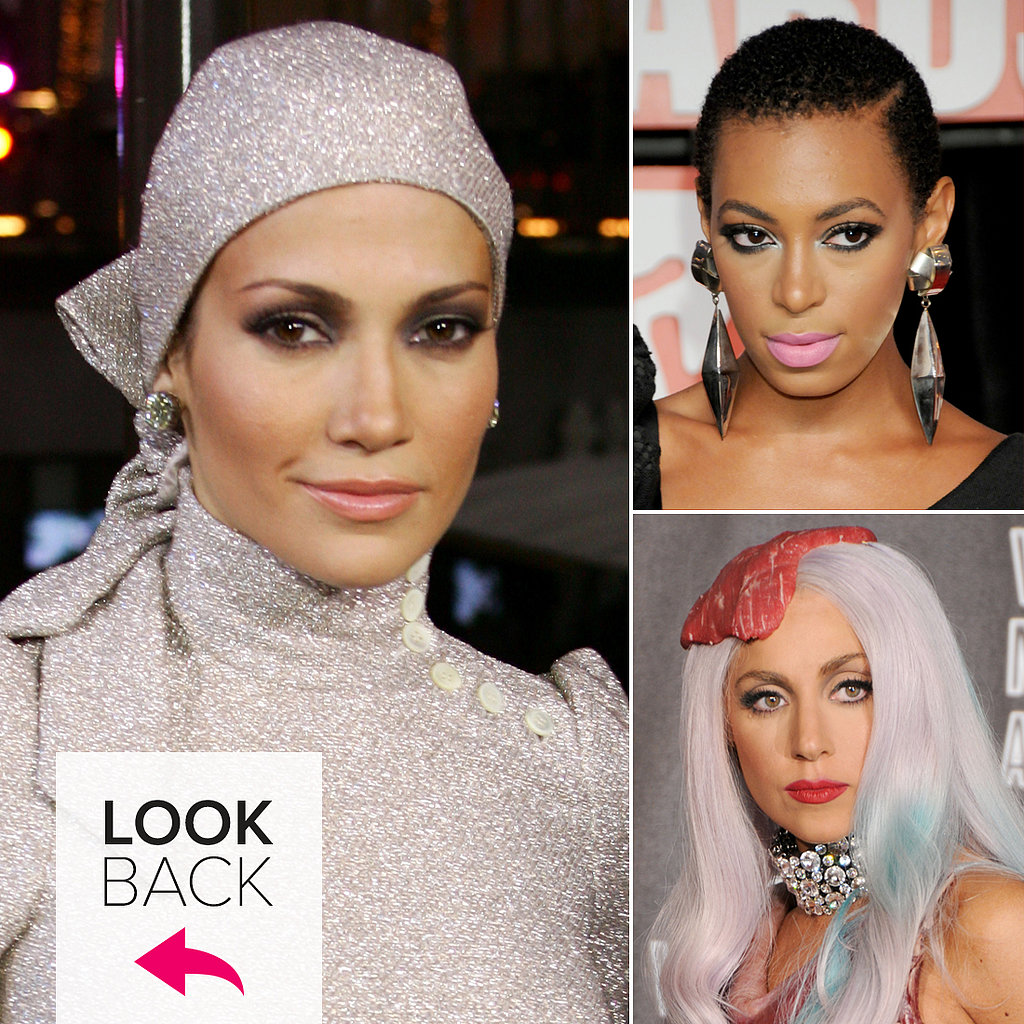 Gaga's Steak Fascinator, Katy's Lilac Locks, and More Iconic VMA Looks