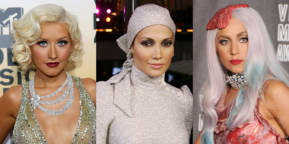 #TBT: Gaga's Steak Hat, Miley's Buns, and More Iconic VMAs Looks