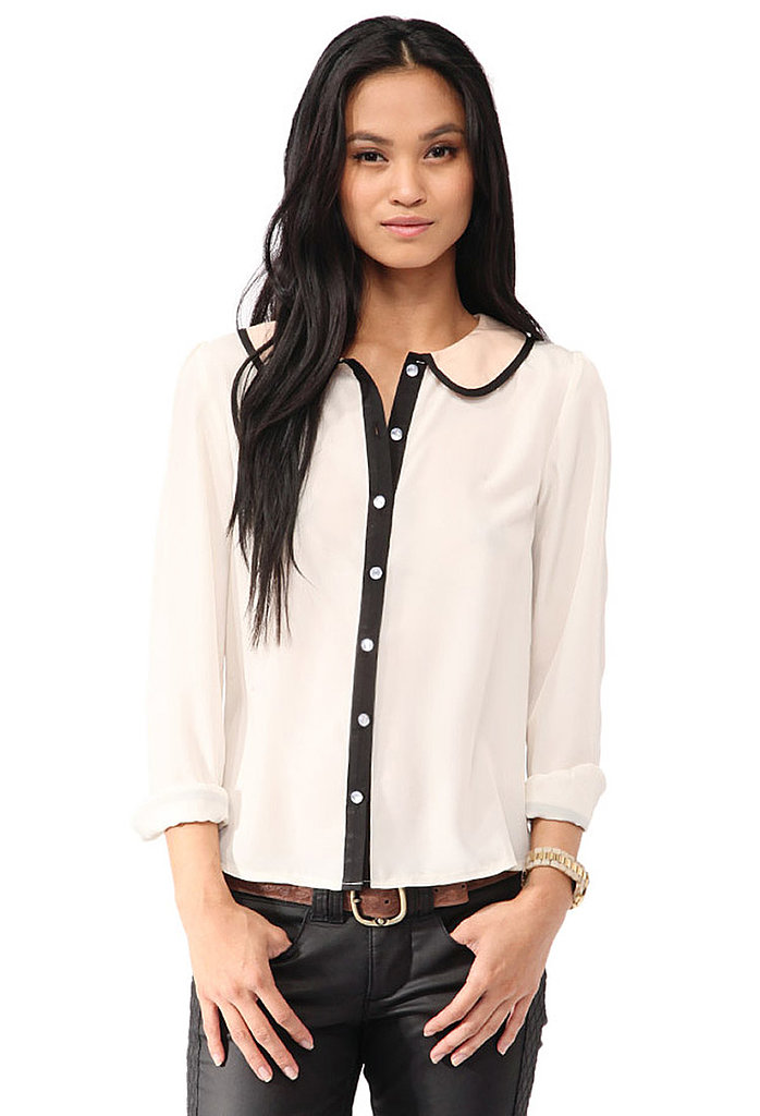 Add a feminine contrast to a pair of leather pants with this Forever 21 contrast collar blouse ($23).