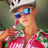 Model Erin Heatherton looked pretty in pink during a recent ride for Pelotonia, an organization that benefits cancer research. Source: Instagram user erinheathertonlegit