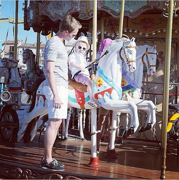Do you think Neil Patrick Harris intentionally coordinated these ensembles with the pastel carousel? Source: Instagram user neilpatrickharris