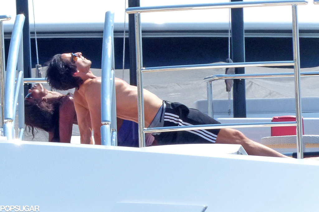 Adrien Brody and Naomi Campbell got a workout on a yacht.