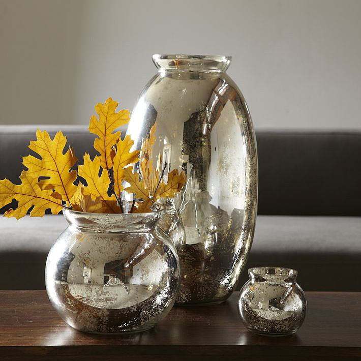Just picture how great these mercury glass vases ($12-$39) will look filled with Fall foliage.