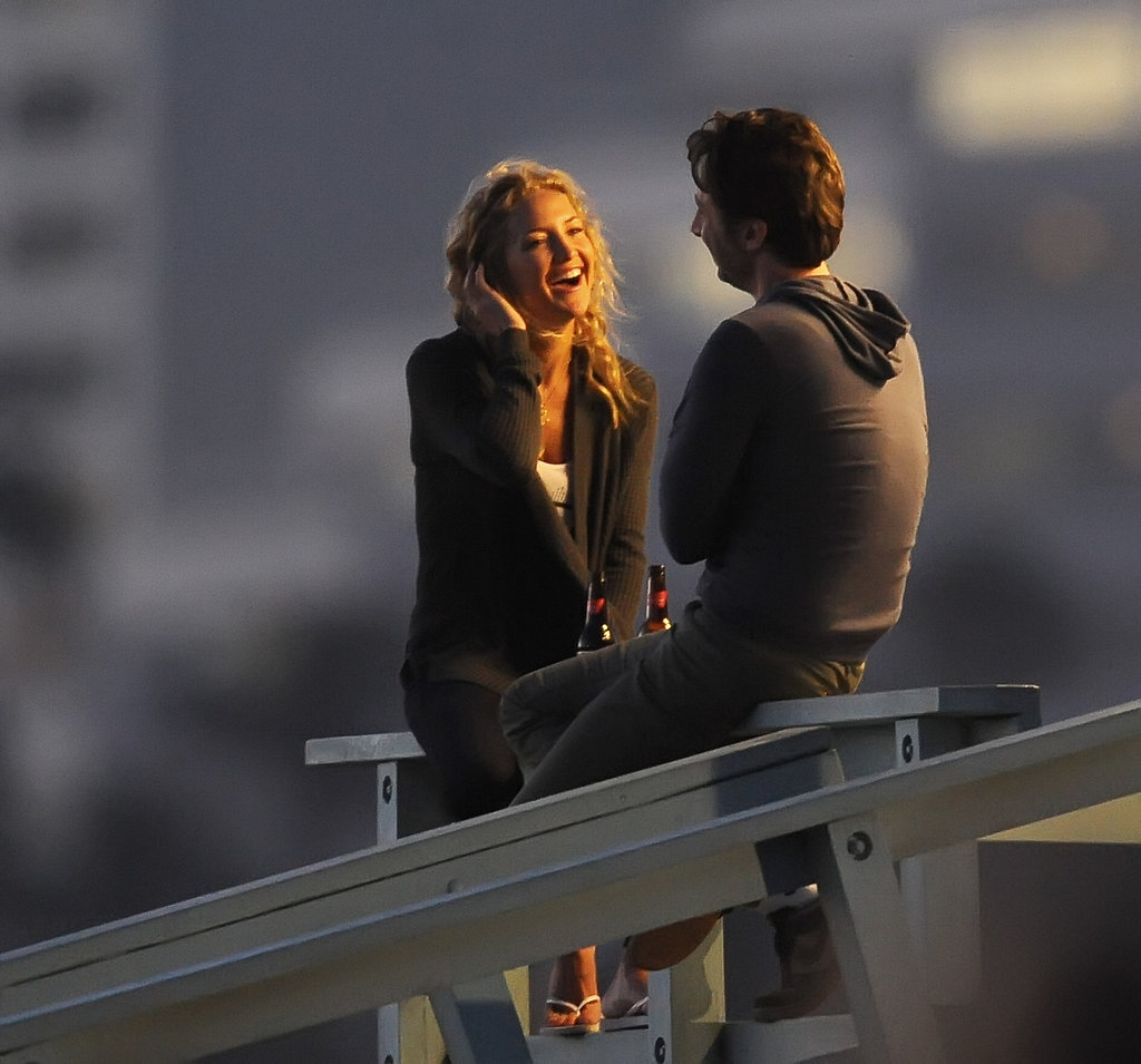 Kate Hudson laughed with Zach Braff on set in Santa Monica.