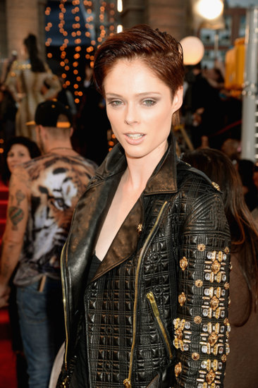 Coco Rocha styled her new short pixie in a sleek, wet look for the VMAs. Paired with angular gray eye makeup, her overall beauty look was tough-girl chic.