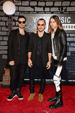 Jared Leto, Shannon Leto, and Tomo Milicevic posed for pictures on the MTV VMAs red carpet.
