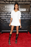 Joan Smalls paired a little white Viktor & Rolf minidress with black strappy Casadei sandal boots at the MTV VMAs.