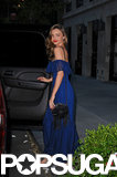 Miranda Kerr wore a blue gown to attend Orlando Bloom's opening night on Broadway.
